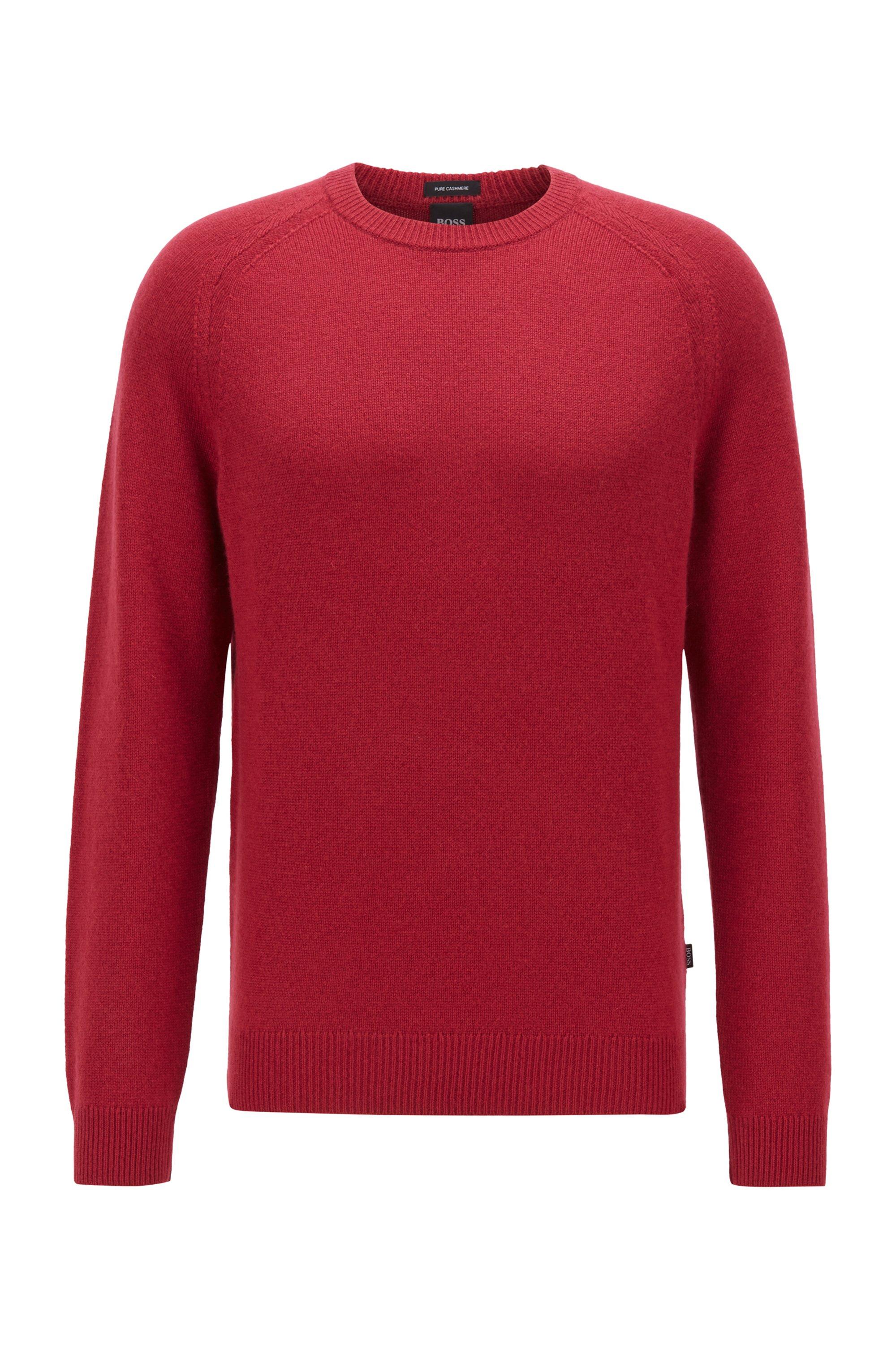 Regular-fit sweater in pure cashmere, Dark Red