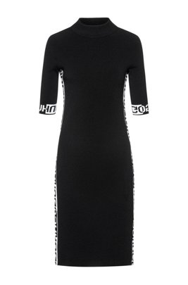 Tube dress with jacquard-knitted logo detailing, Patterned