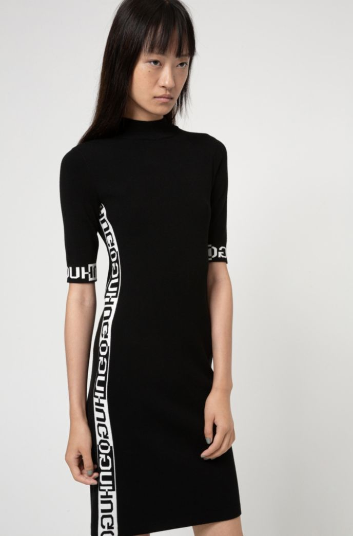 Tube dress with jacquard-knitted logo detailing
