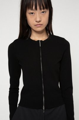 Slim-fit zip-through jacket with knitted ottoman structure, Black