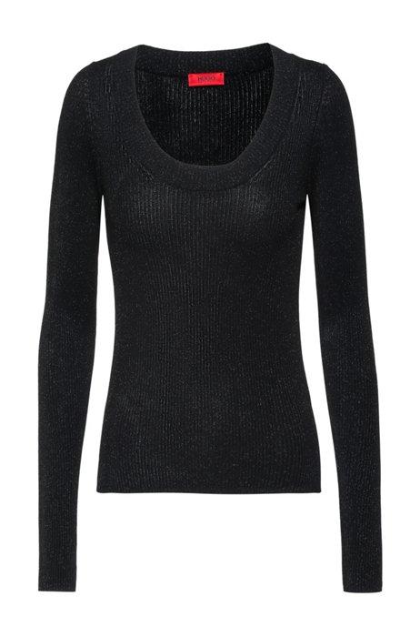 Jersey de efecto brillante con orificios para los pulgares, Negro
