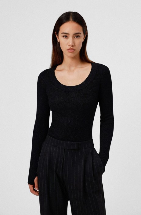 Glittery-effect sweater with thumbholes, Black