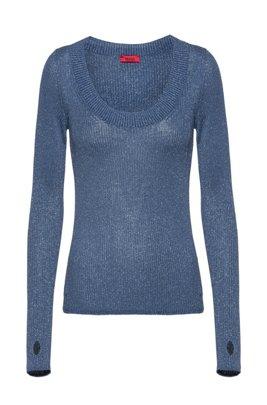 Jersey de efecto brillante con orificios para los pulgares, Azul