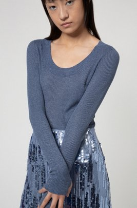 Glittery-effect sweater with thumbholes, Blue