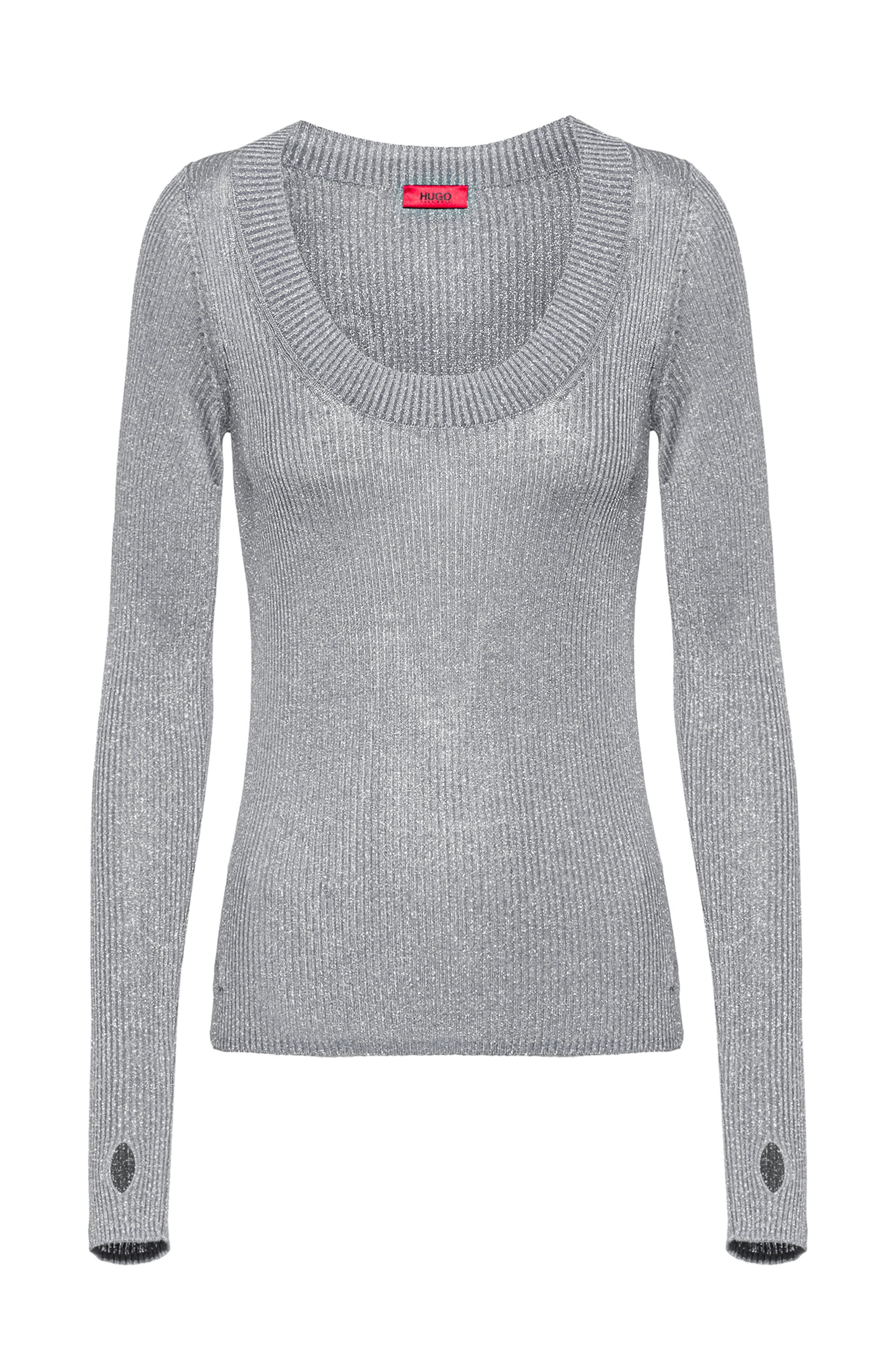Glittery-effect sweater with thumbholes, Patterned
