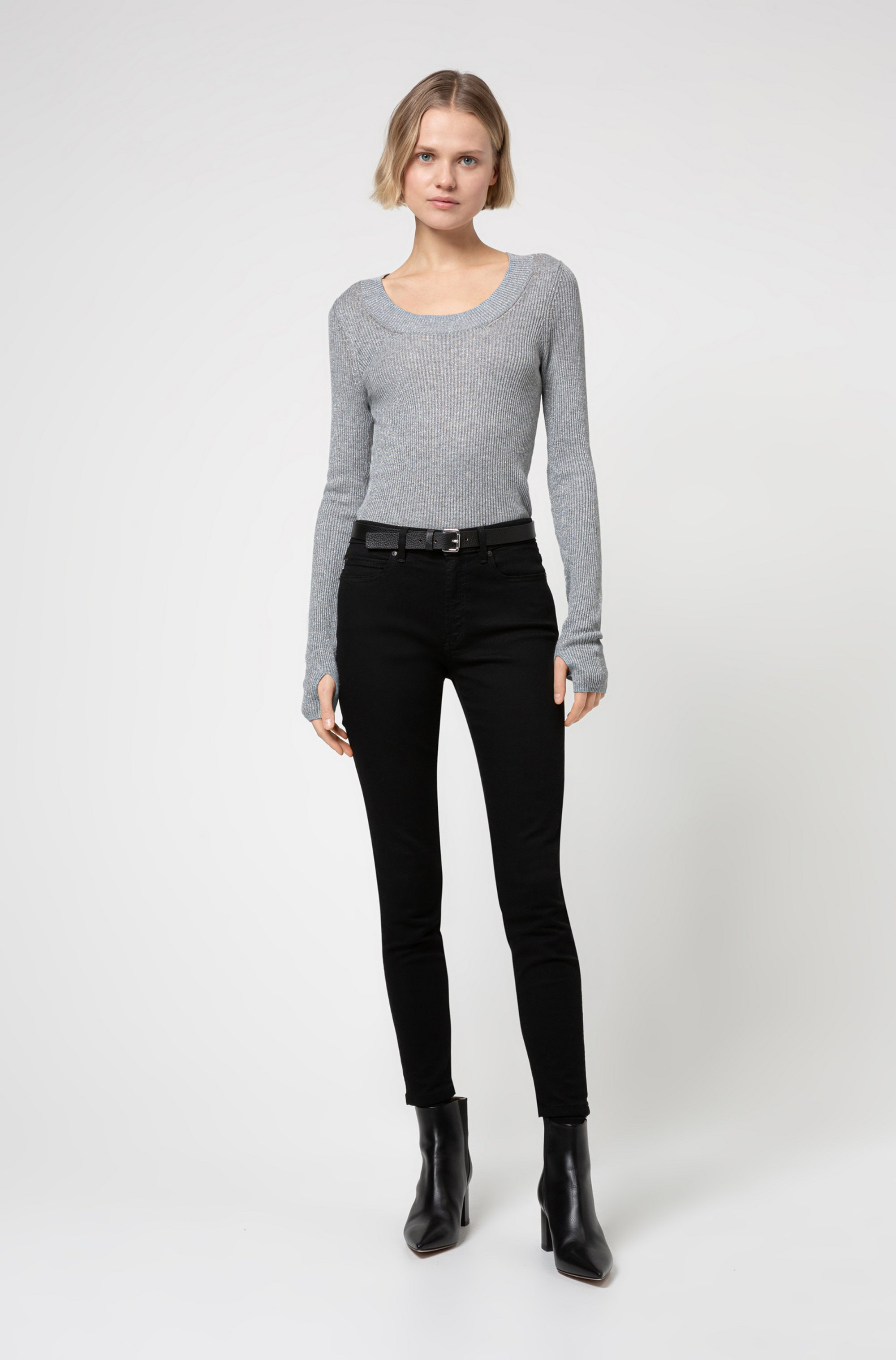Glittery-effect sweater with thumbholes