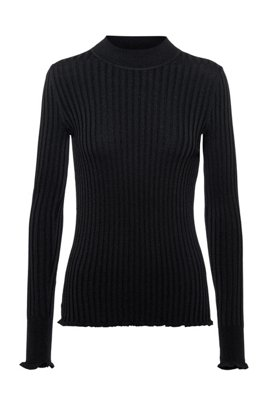 Ribbed-knit sweater with ruffle trims, Black
