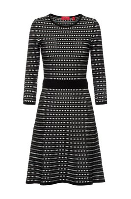 Fit-and-flare knitted dress with two-tone structure, Patterned