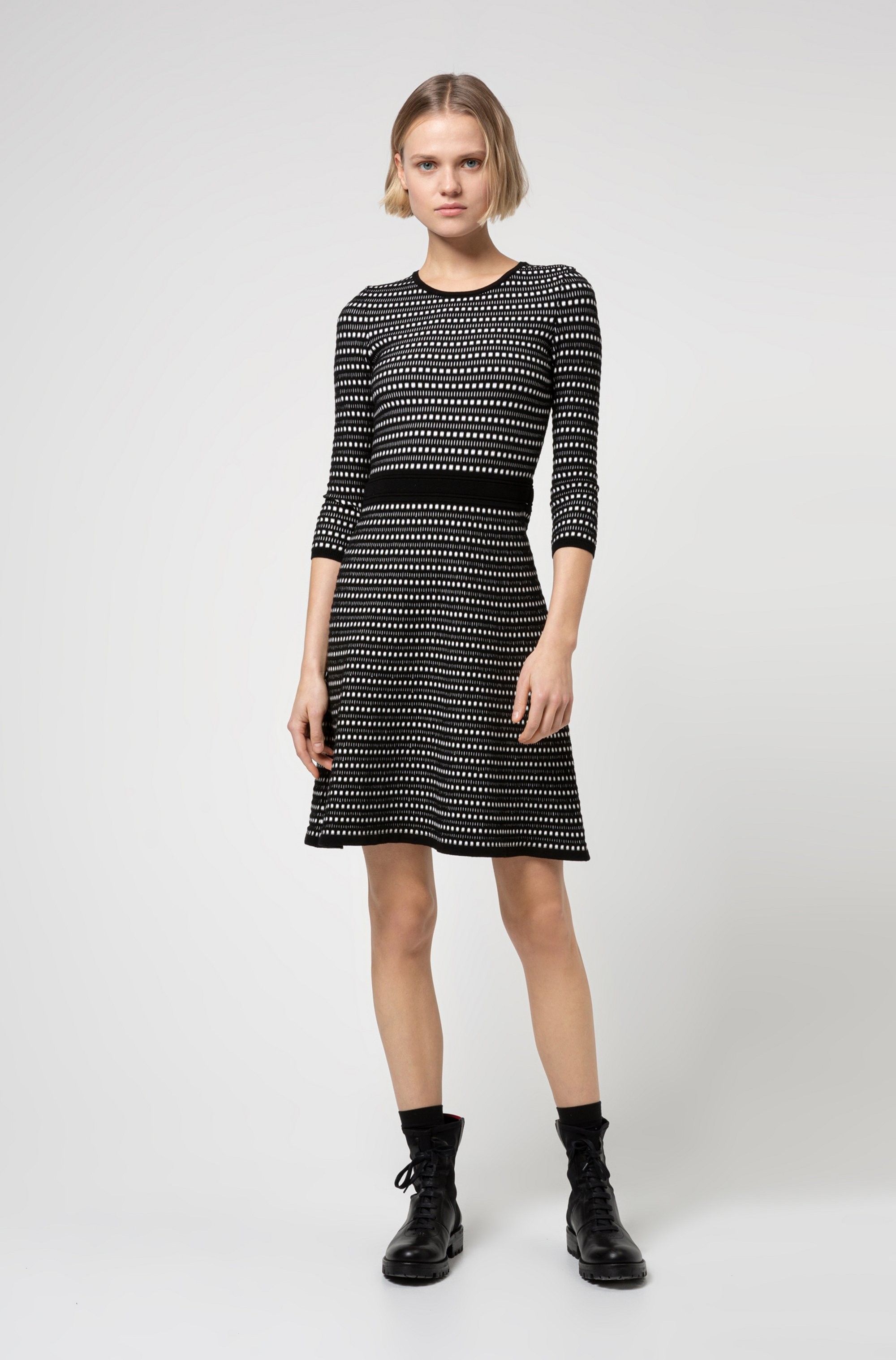 Fit-and-flare knitted dress with two-tone structure