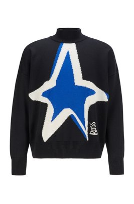 Virgin-wool sweater with star intarsia, Black