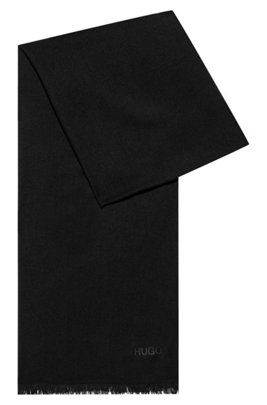 Fringed scarf with logo detail, Black