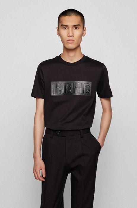 Slim-fit T-shirt in mercerised cotton with monogram print, Black