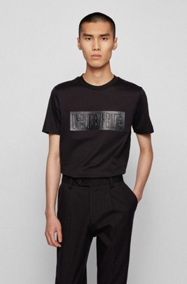 Slim-fit T-shirt in mercerised cotton with monogram print, Black