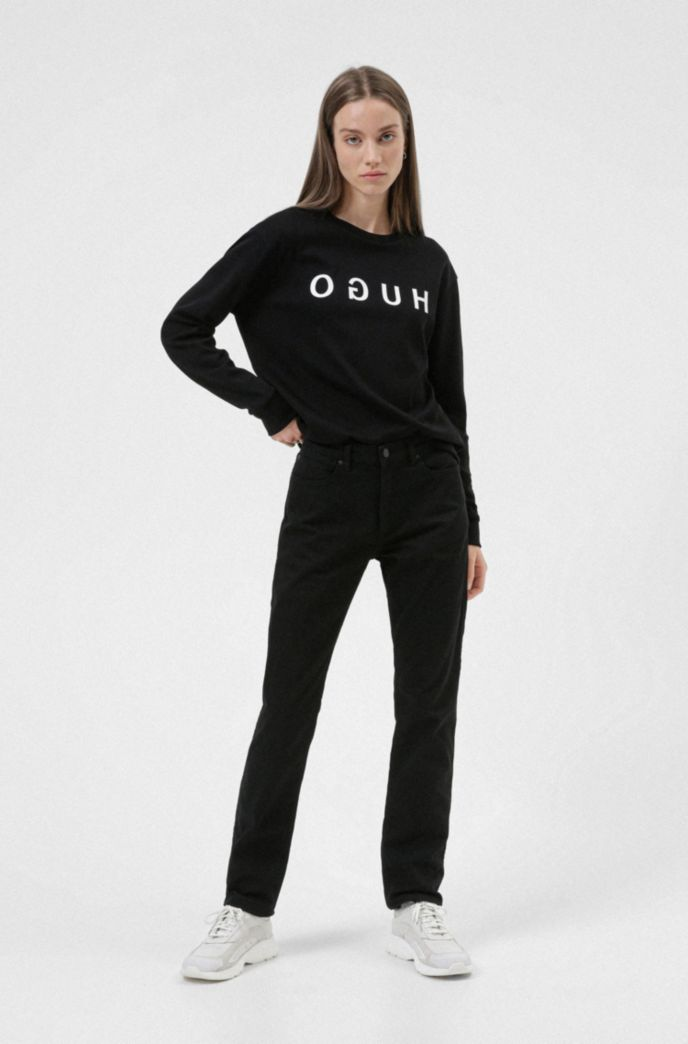 Reverse-logo sweatshirt in interlock cotton
