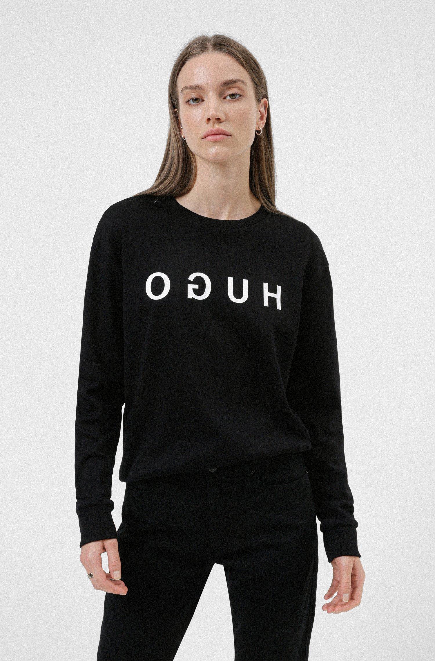 Reverse-logo sweatshirt in interlock cotton, Black
