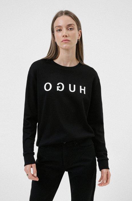 Sweatshirt aus Interlock-Baumwolle mit spiegelverkehrtem Logo, Schwarz