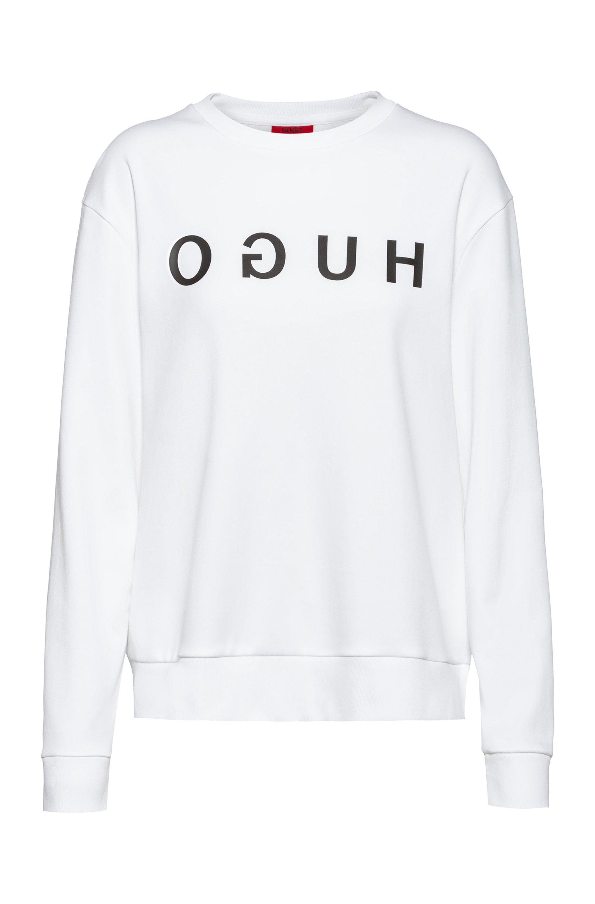 Reverse-logo sweatshirt in interlock cotton, White