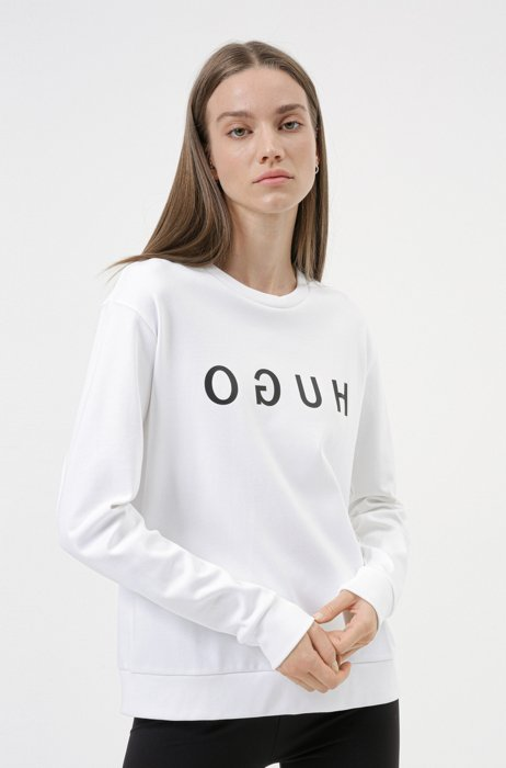 Felpa in cotone intrecciato con logo reversed, Bianco
