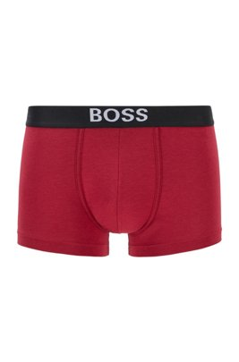Regular-rise trunks in stretch fabric with logo waistband, Dark Red