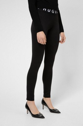 Skinny-fit leggings with contrast logos, Black