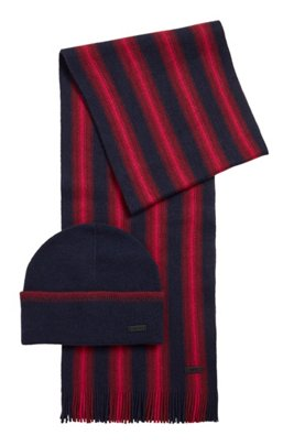 Striped beanie hat and scarf accessory set, Dark Blue