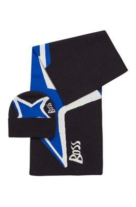 Set de bufanda y gorro con ilustración de estrellas en algodón y cashmere, Negro