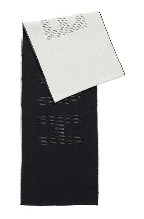 Zweifarbiger Schal aus Schurwolle mit Logo-Intarsien, Schwarz