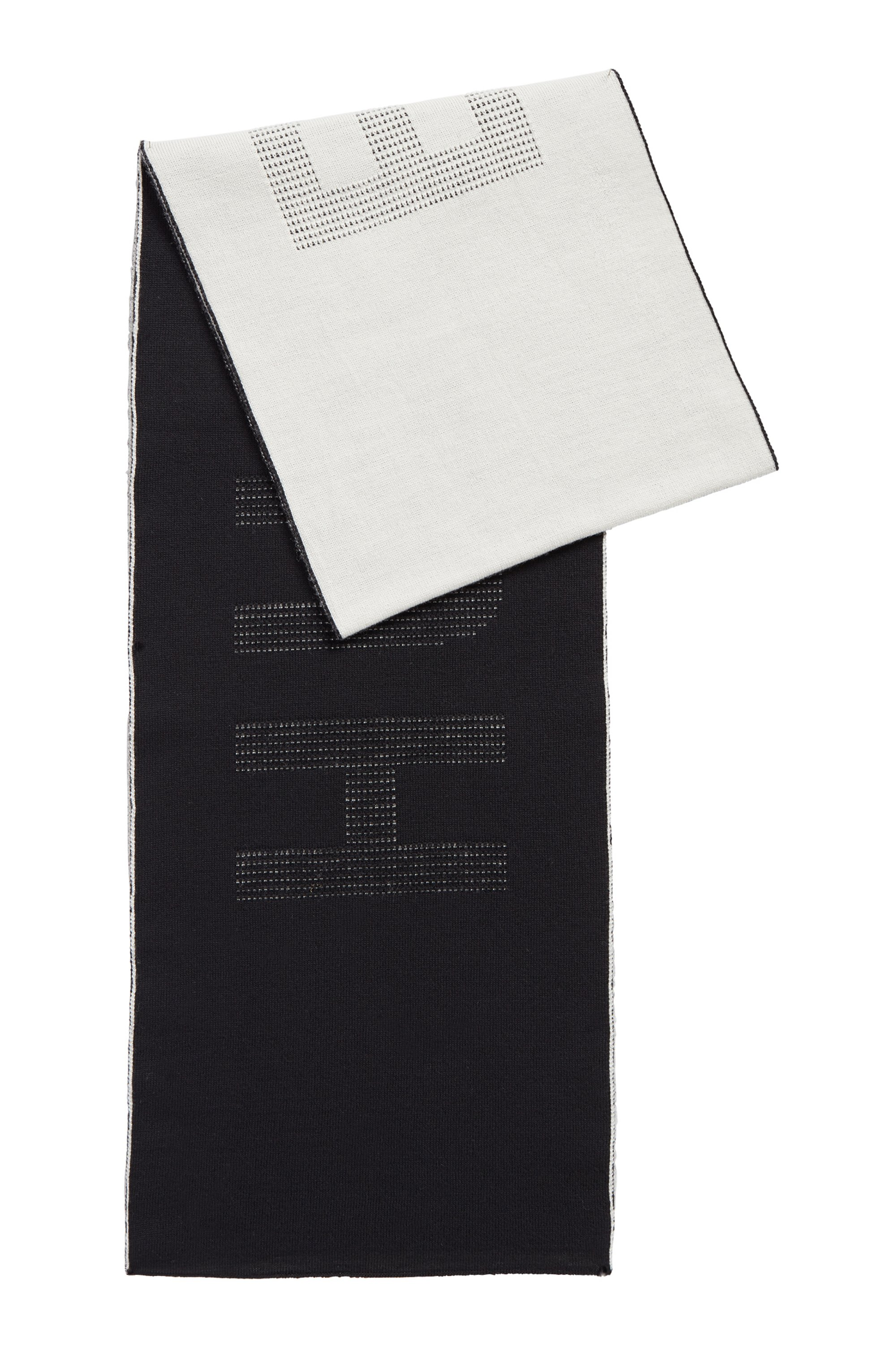 Two-coloured scarf in virgin wool with logo intarsia, Black