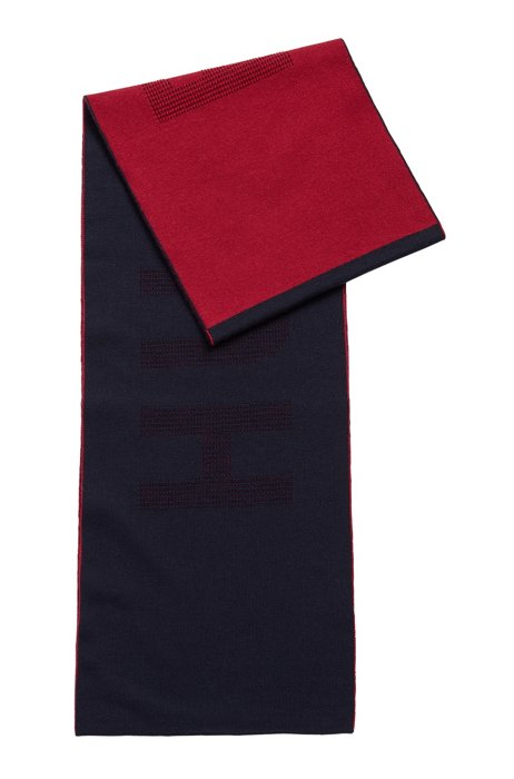 Two-colored scarf in virgin wool with logo intarsia, Dark Blue