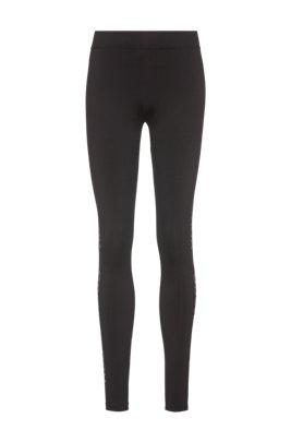 Skinny-fit leggings with reflective logo print, Black