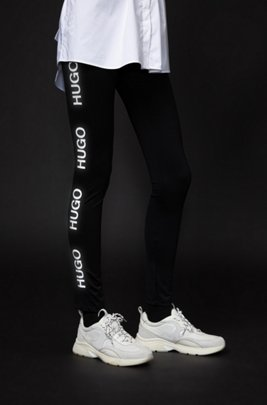Skinny-fit leggings with reflective logo print, Black