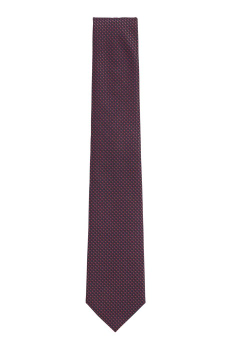 Water-repellent tie in micro-patterned silk jacquard, Red
