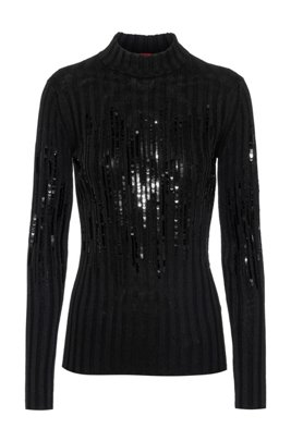 Sequin-stripe sweater in a cotton blend, Black