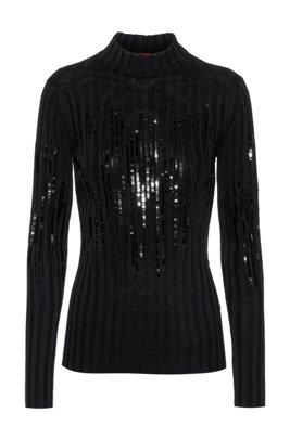 Sequin-stripe sweater in a cotton blend, Black