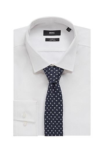 防水真丝提花微图案领带,  401_暗蓝色
