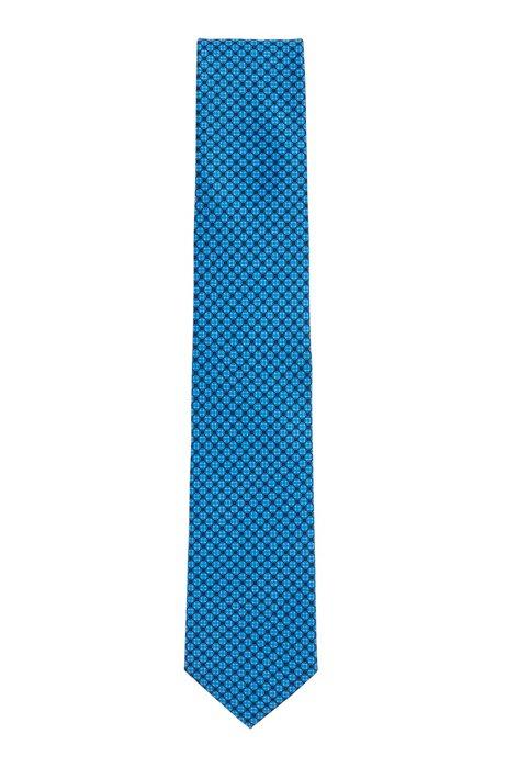 Water-repellent tie in Italian silk jacquard, Dark Blue