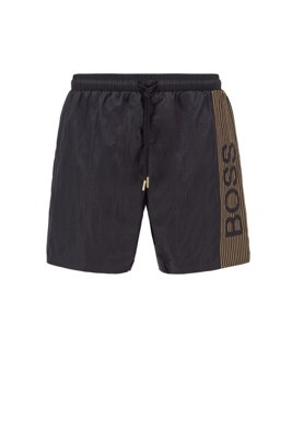 Quick-drying swim shorts with logo and reflective stripes, Black
