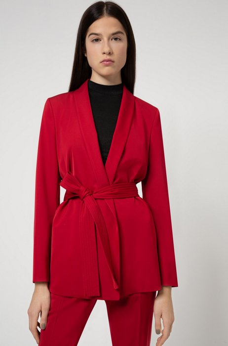 Relaxed-fit jacket with shawl lapels and belted closure, Red