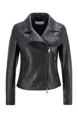 Biker-style leather jacket in Olivenleder®, Black