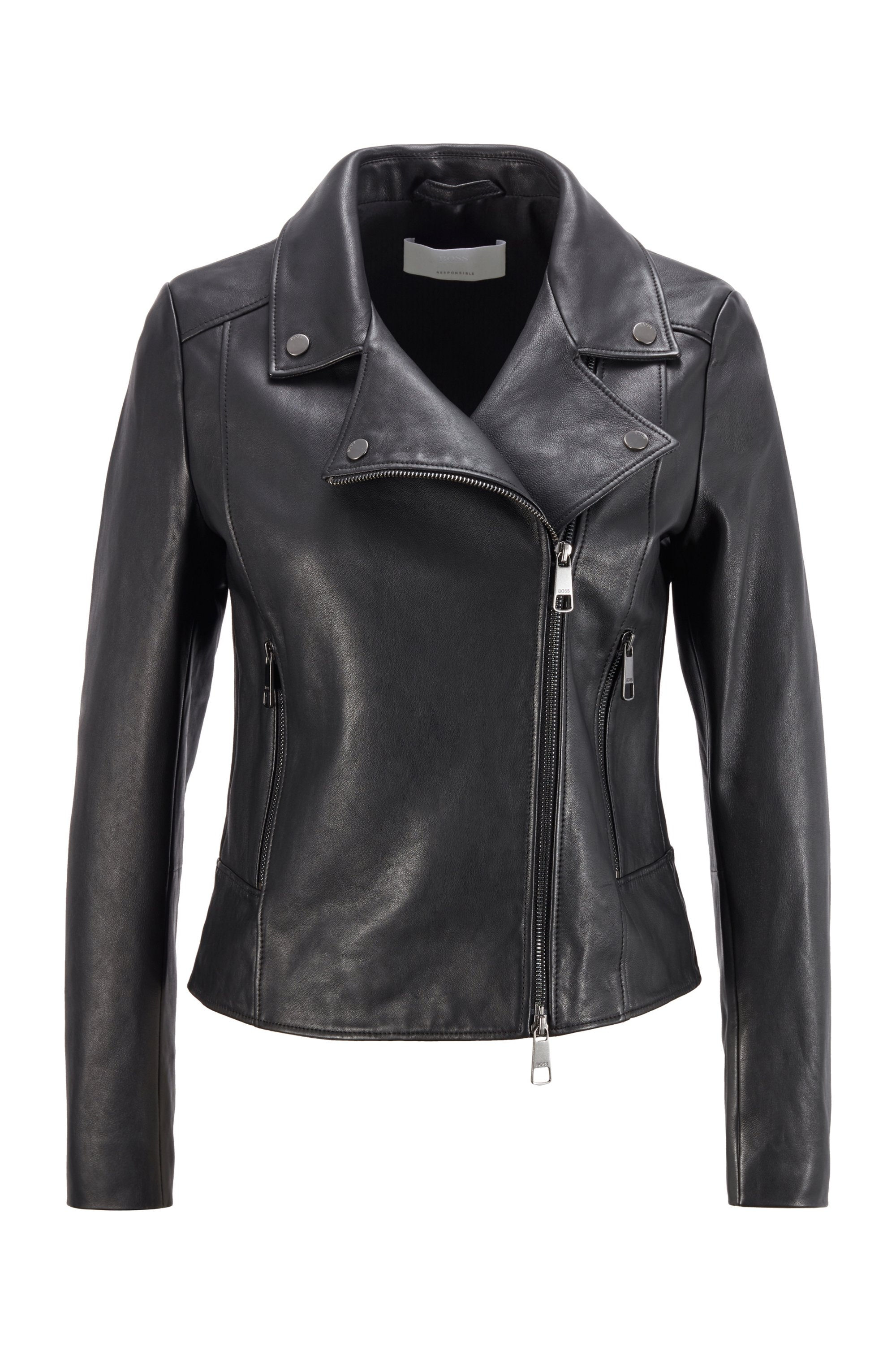 Lederjacke im Biker-Stil aus Olivenleder®, Schwarz
