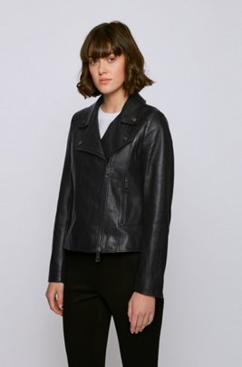 Biker-style leather jacket in Olivenleder®, Black