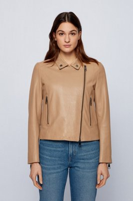 Biker-style leather jacket in Olivenleder®, Beige
