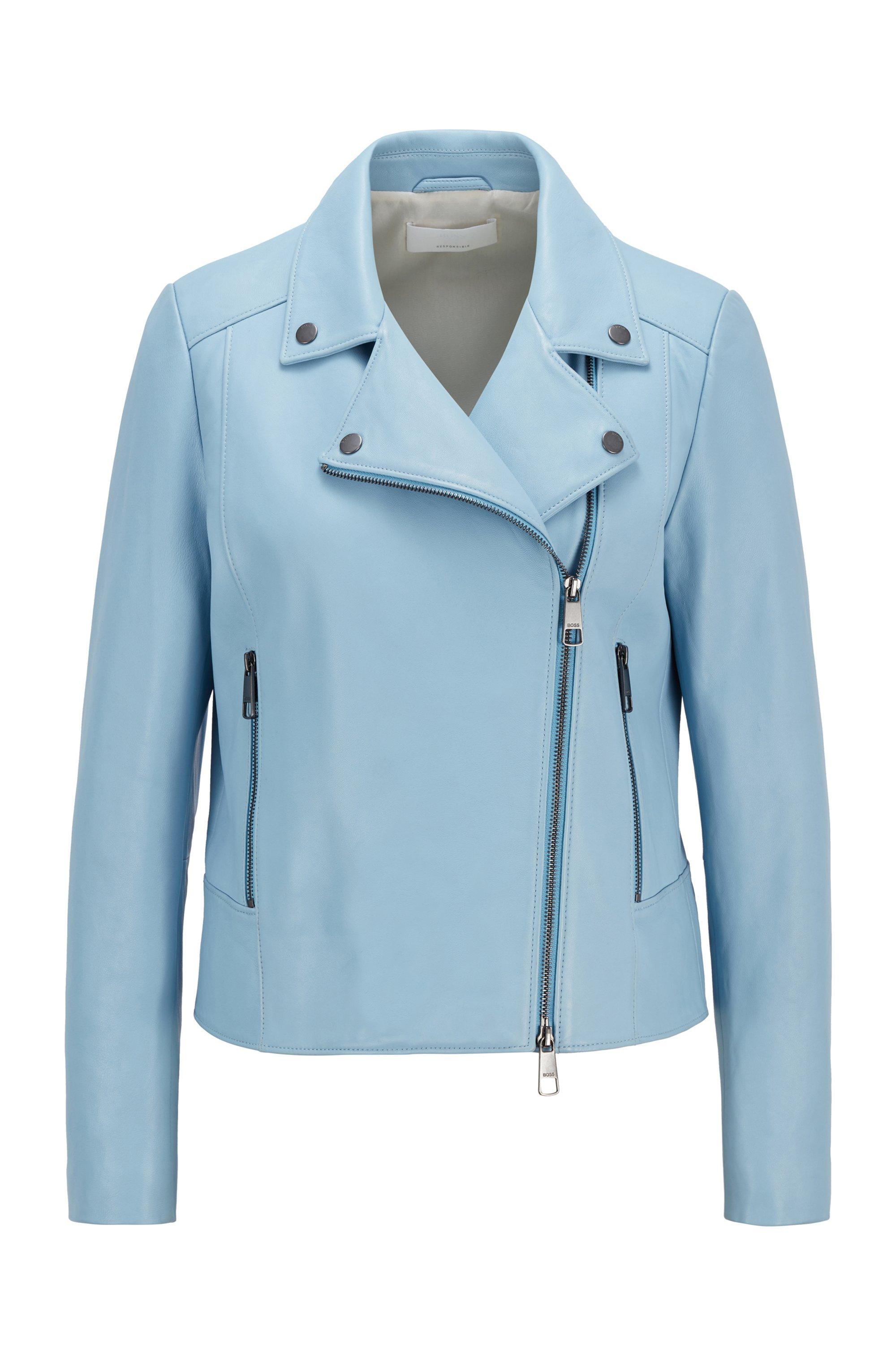 Lederjacke im Biker-Stil aus Olivenleder®, Hellblau