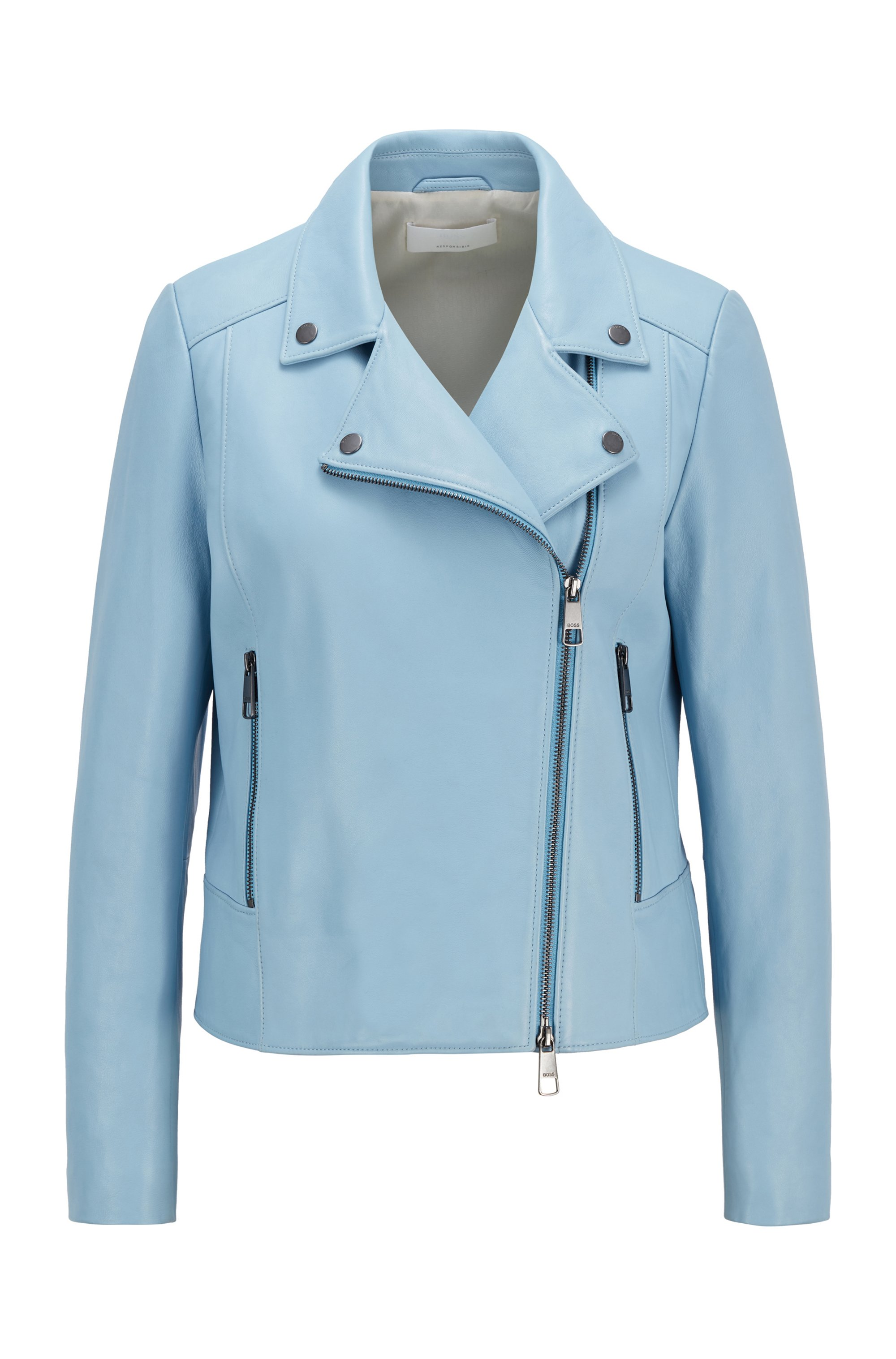 Biker-style leather jacket in Olivenleder®, Light Blue