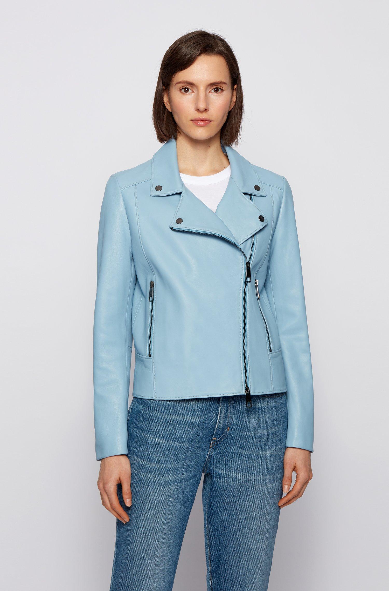 Biker-style leather jacket in Olivenleder®, Light Blue