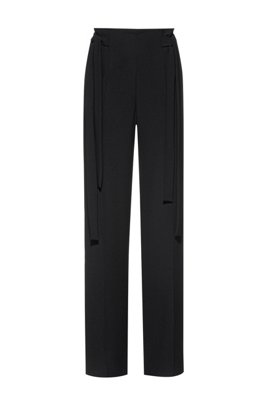 Relaxed-fit trousers with tie-up details, Black