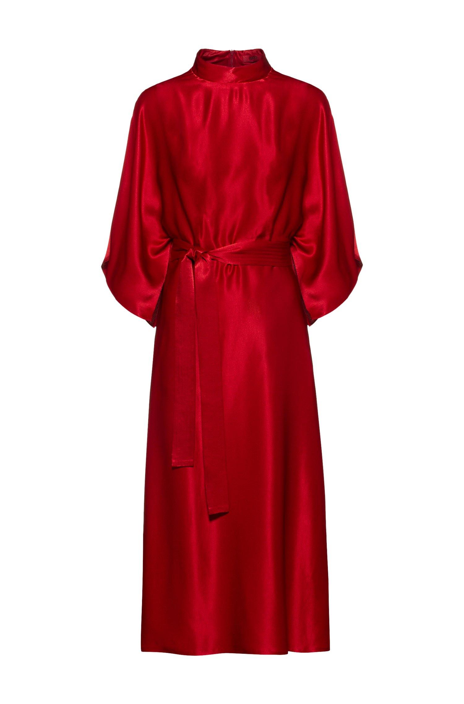 Schimmerndes Kleid im Kimono-Stil mit Taillengürtel, Rot