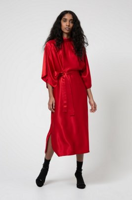 Lustrous kimono-style dress with belted waist, Red