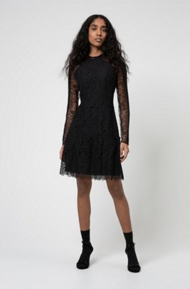 High-neck dress in floral lace, Black