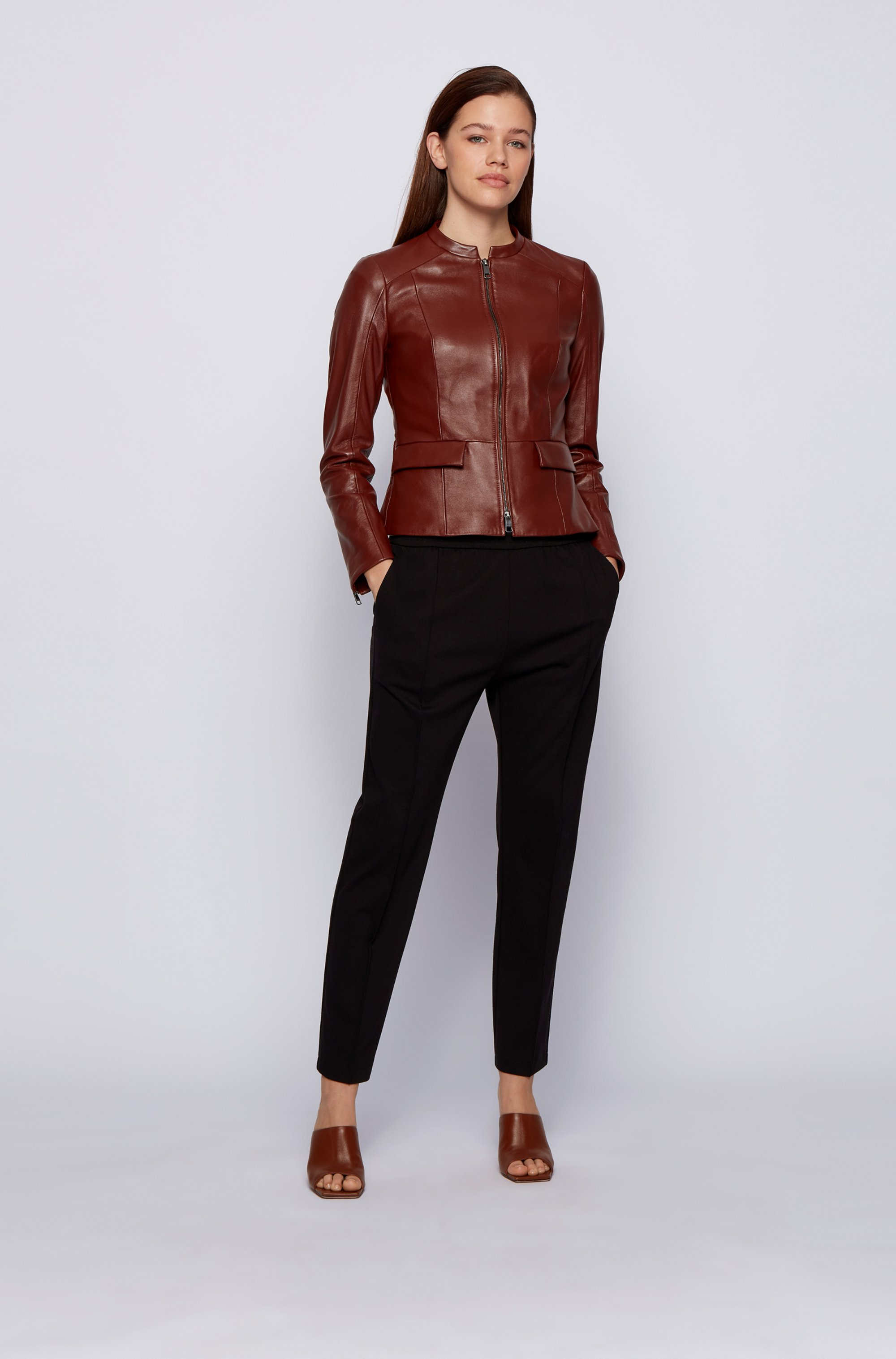 Regular-fit jacket in nappa leather with peplum hem